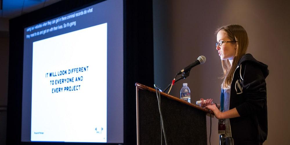 Lauren Pittenger speaking at WordCamp US 2015
